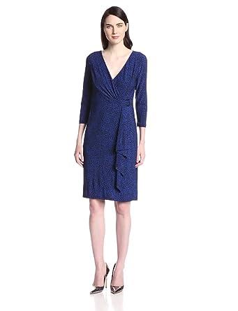 Jones New York Women's Elbow Sleeve Side Gather Printed Dress, Blueberry/Black, 4