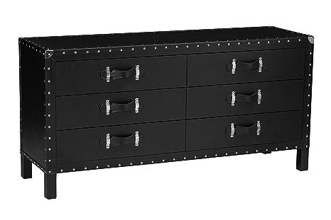 Premier Housewares Leather Effect Sloane Wood Sideboard - Black