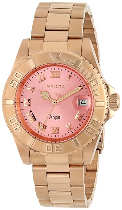 Invicta Women's 14369 Angel Analog Display Swiss Quartz Rose Gold Watch
