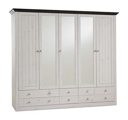 Steens Monaco 2+3 Glazed Door 4+2-Drawer Wardrobe, Whitewash/Dark Stain Finish