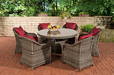 CLP Poly-Rattan Sitzgruppe STAVANGER grau-meliert (6 Gartensessel + Esstisch rund Ø 130 cm + Sitzauflagen) grau meliert, Bezug rubinrot