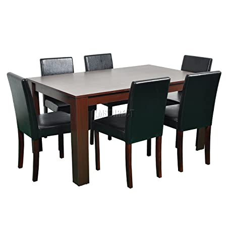 FoxHunter Quality Wooden Dining Table and 6 PU Faux Leather High Back Chairs Set Kitchen Furniture FH-DS05 Walnut
