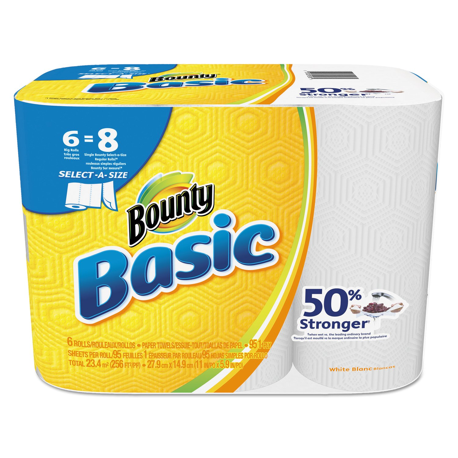 "Bounty 92981 Basic Select-A-Size Paper Towels, 5 9/10"" x 11"", 1-Ply, White (Pack of 6)"