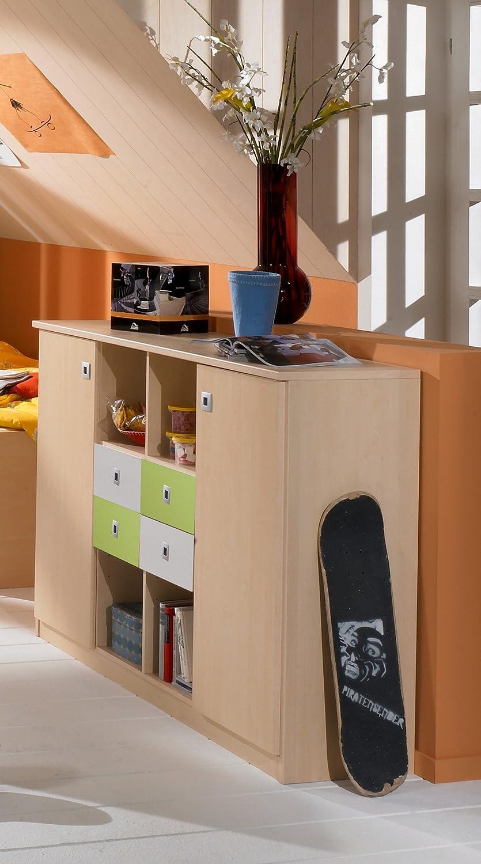 Jugendzimmer Sideboard in Ahorn – grün – weiß Kommode Regal Kinderzimmer online kaufen