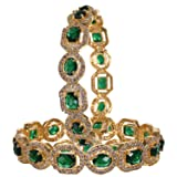 RATNAVALI JEWELS CZ Zirconia Gold Tone Green Diamond Elegant Bollywood Indian Bangles Jewelry Women (Color: Multicolor)