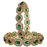 RATNAVALI JEWELS CZ Zirconia Gold Tone Green Diamond Elegant Bollywood Indian Bangles Jewelry Women (Color: Multicolor)