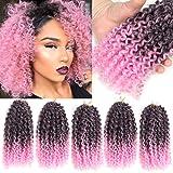 6 PCS Marlibob Crochet Braiding Hair 8 Inch Kinky Curly Crochet Hair Extensions (8
