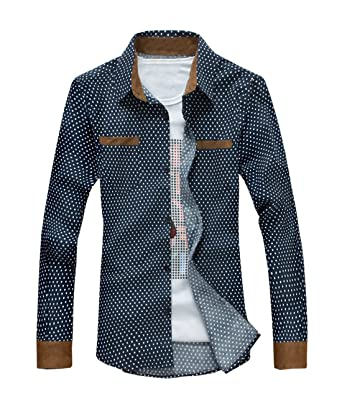 Fashion Mens Shirts Slim Fit Corduroy Round Point Brand