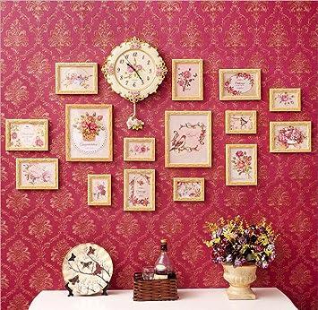ZZZSYZXL 16 PC salón dormitorio comedor de madera maciza foto de la pared del reloj tallado