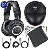 Audio-Technica ATH-M50x Monitor Headphones (Black) + Keep Case Bundle (Color: w/ Keep Case, Tamaño: ATH-M50x)