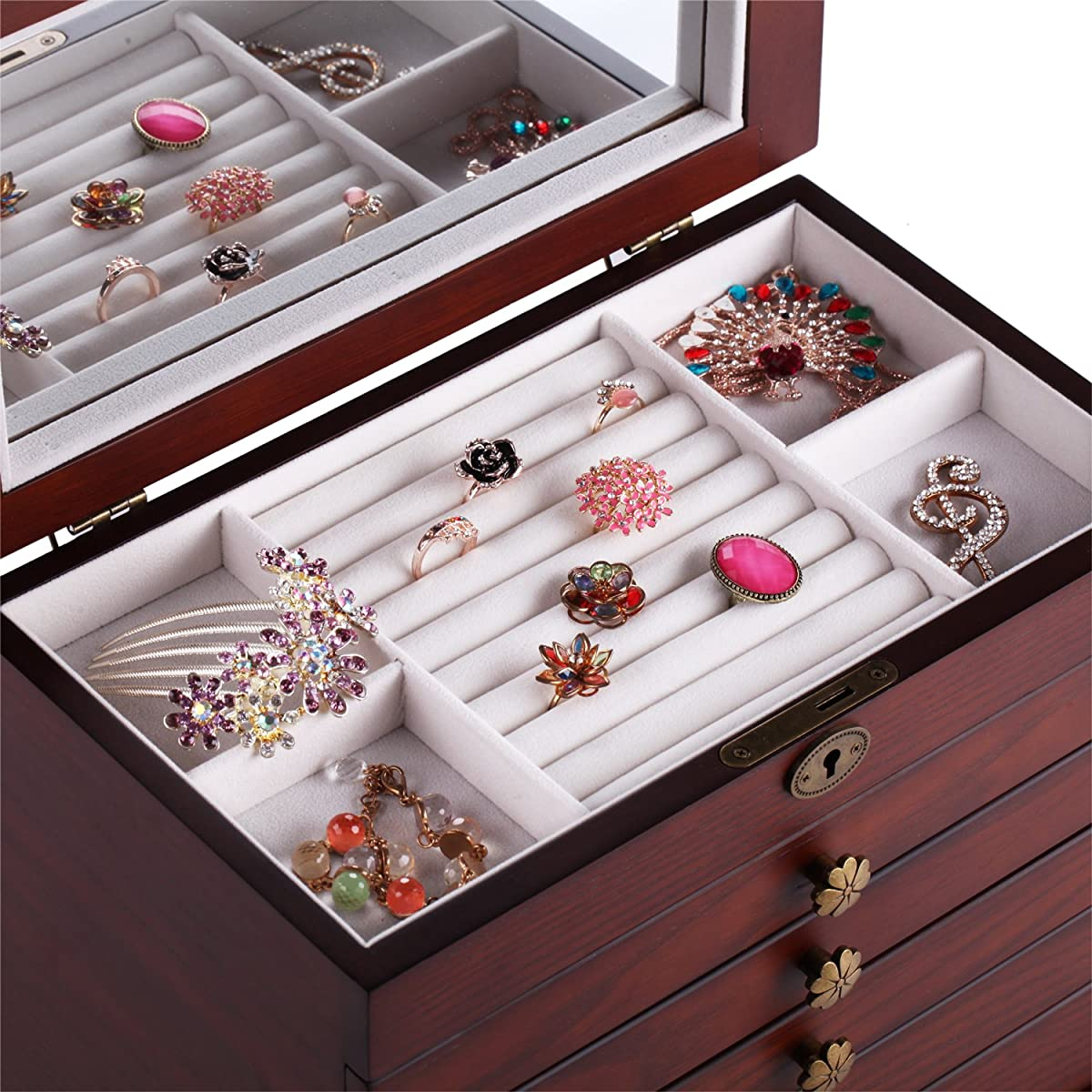 Large Wooden Jewellery Box Armoire Earrling Bracelet Organizer 6 Layers Mirror (BROWN)