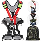 Happybuy Safety Climbing Harness Fall Protection Rock Climbing Equip Gear Rappelling Harness Ideal for Rock Climbing Floor Escape Rappelling Roofing Working and Other Activities (Color: Red Full Body)