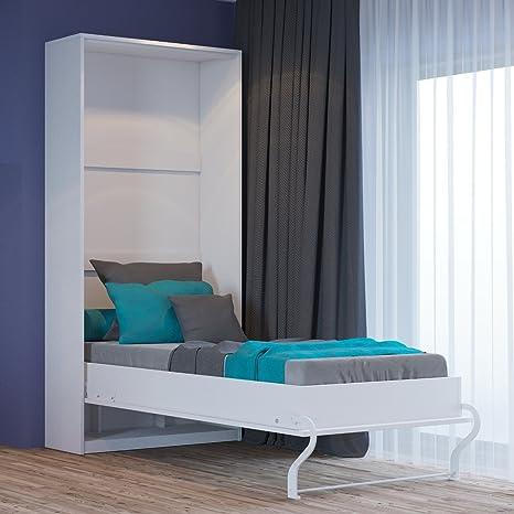 Armario con cama abatible, vertical, 80 x 200 cm, frontal brillante, color blanco
