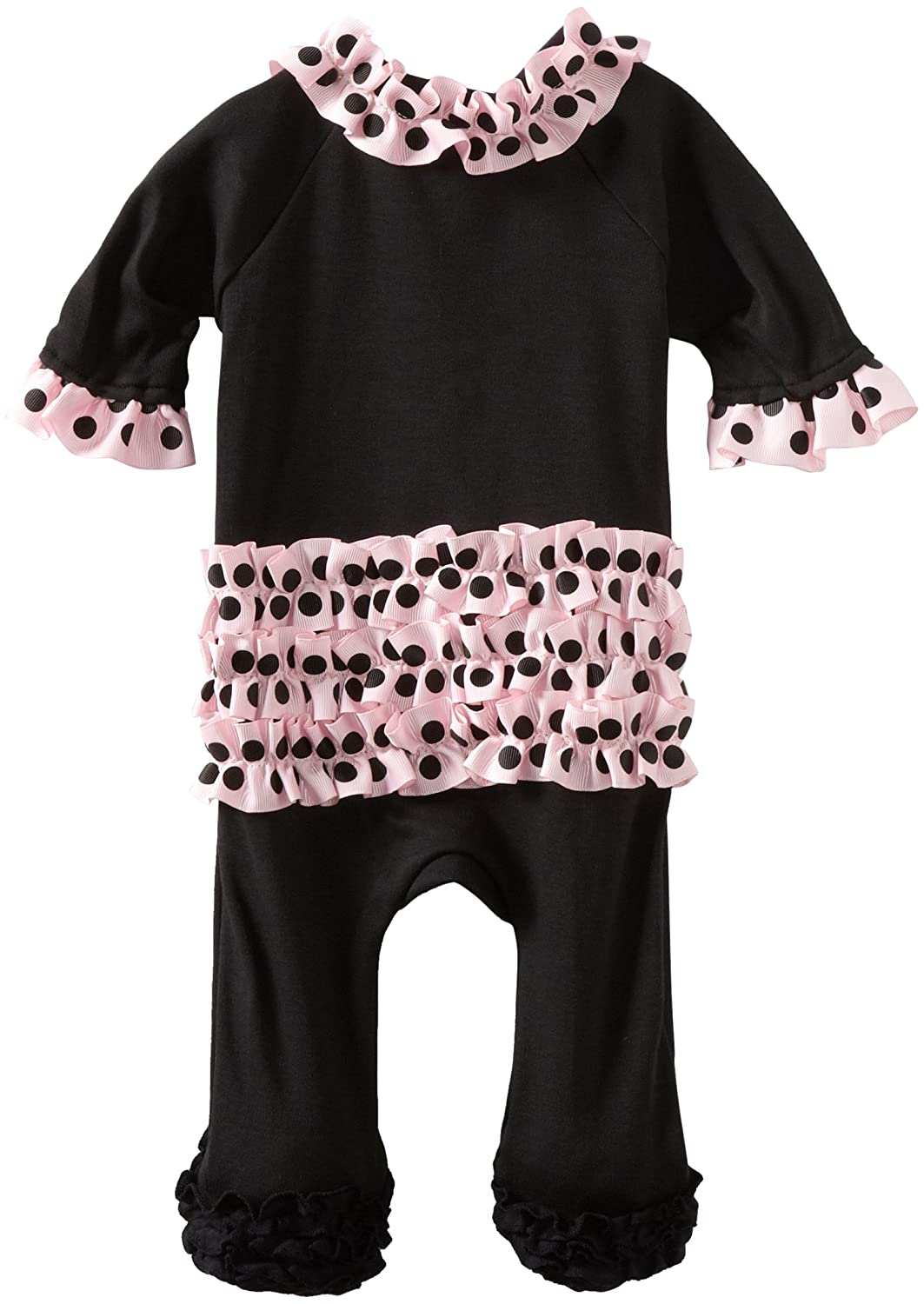 Детская пижама Mud Pie Baby Footed Sleeper with Ruffles, Black/Pink, 0 - 6 Months