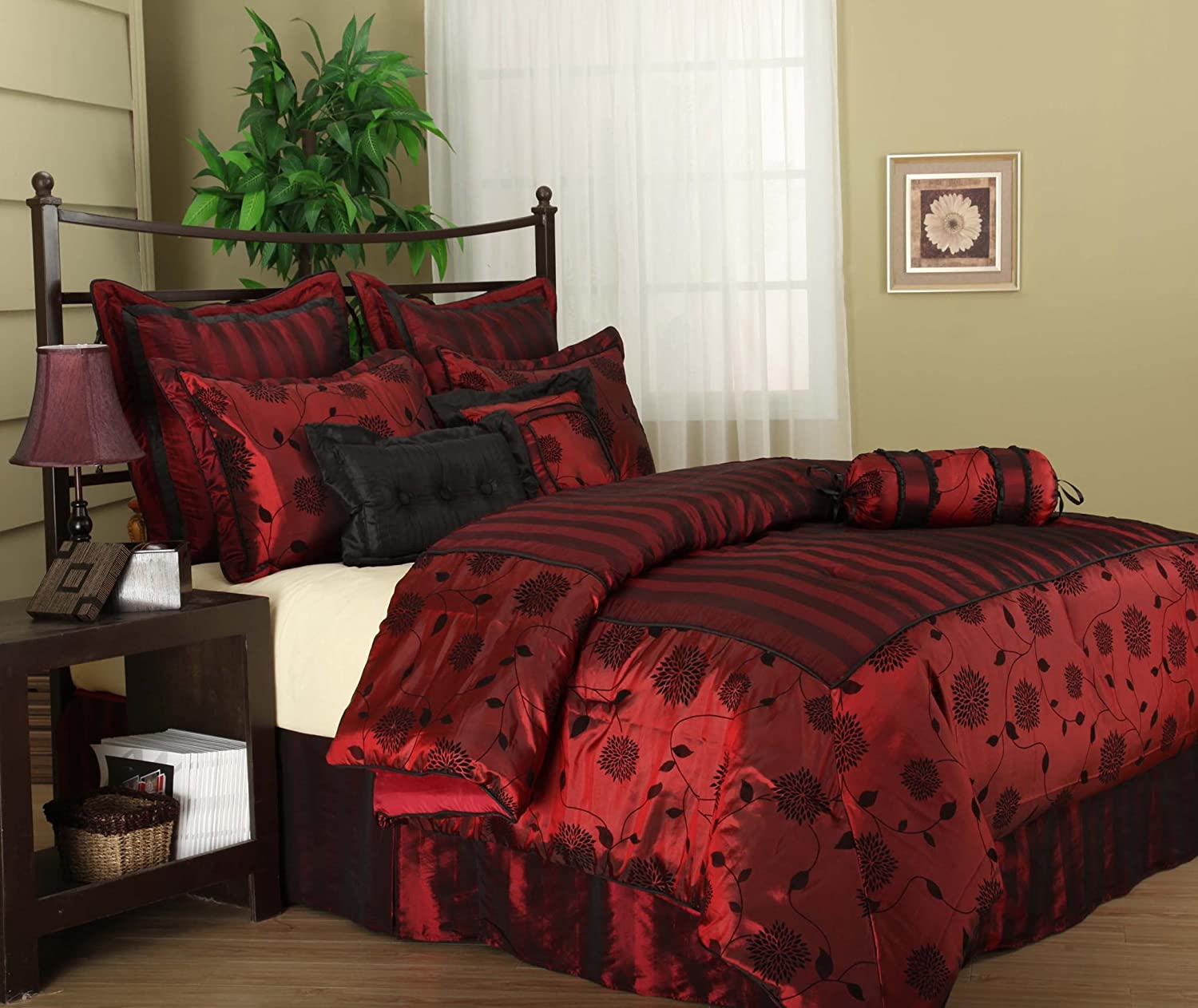 Burgundy queen comforter sets beautiful bedroom for Black and burgundy bedroom ideas