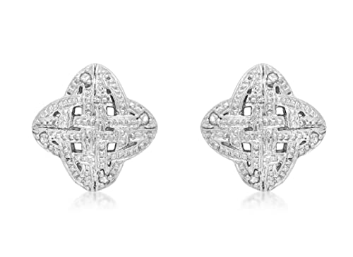 Carissima Gold 9ct White Gold Diamond Celtic Stud Earrings