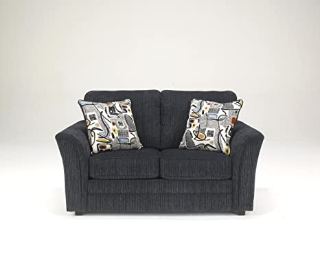 Devante Contemporary Black Fabric Loveseat