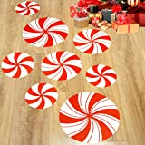 Peppermint Floor Decals Stickers for Christmas Decoration Candy Party Supply 8 Pcs