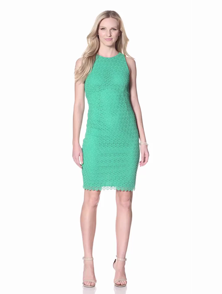 Isaac Mizrahi New York Womens Circle Lace Dress With Racer Back, Emerald, 10