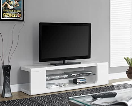 Monarch Specialties High Glossy White TV Console with Tempered Glass, 60-Inch