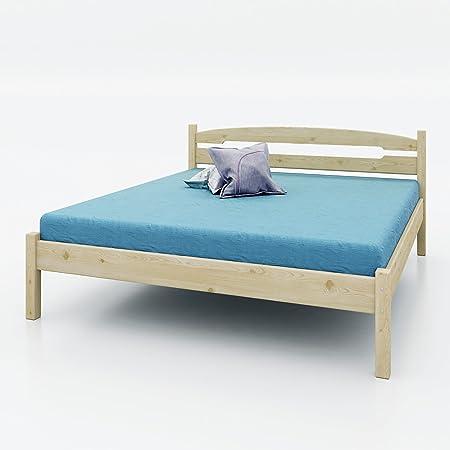 AI SEN Kiefer-Massivholz-Bett Valea 4, 180x200 cm, natur lackiert