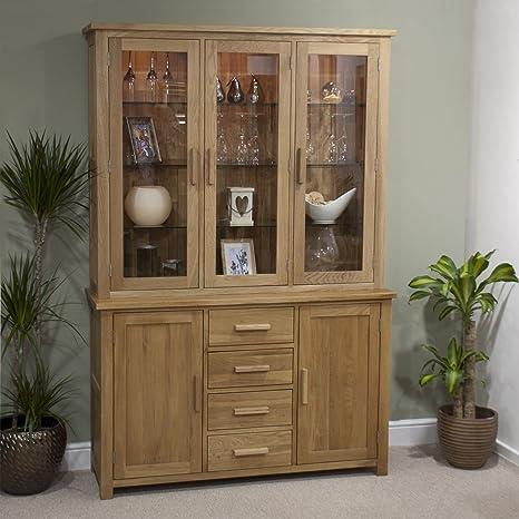 Eton solid oak furniture large glazed dresser display cabinet with light