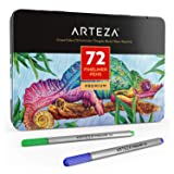 ARTEZA Fineliners Fine Point Pens, Set of 72 Fine Tip Markers with 0.4mm Tips & Sure Grip Ergonomic Barrels, Brilliant Assorted Colors for Coloring, Drawing & Detailing + Sturdy Metal Storage Case (Color: 72 Colors, Tamaño: Set of 72)