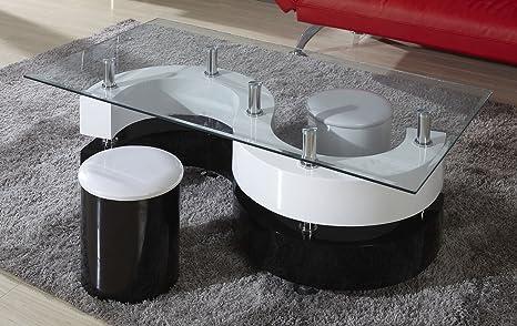 Couchtisch Dakoro 20, Farbe: Weiß Hochglanz / Schwarz Hochglanz - Abmessungen: 45 x 130 x 70 cm (H x B x T)