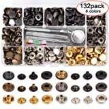 132 Set Leather Snap Fasteners Kit, 0.49 inch Metal Button Snaps Press Studs with 4 Installation Tools, 6 Color Leather Snaps for Clothes, Jackets, Jeans Wears, Bracelets, Bags (Color: Gold, silver, bronze, gunmetal, matte black, jet black)