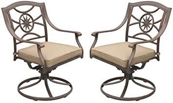 Darlee Ten Star Cast Aluminum Swivel Rocker Dining Chair with Seat Cushion, Set of 2, Antique Bronze Finish