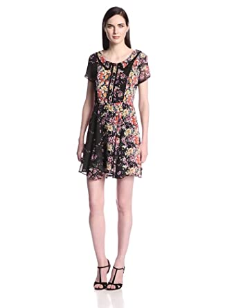 Lucca Couture Women's Short Sleeve Open Back Dress, Black Floral, X-Small