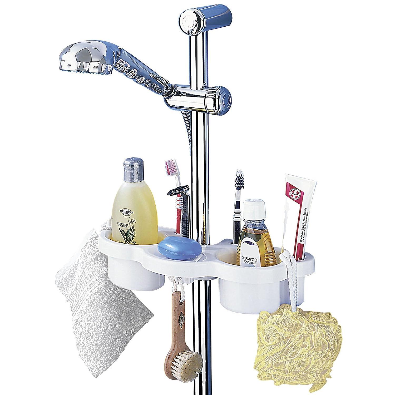 Dusche Halter Duschgel : Wenko 7038100 Duschstangenboy – 2 Ablagemulden, Seifenablage, 2 Haken