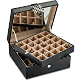 Glenor Co Classic 50 Slot Jewelry Box Earrings Organizer with Large Mirror, Black (Color: Black)