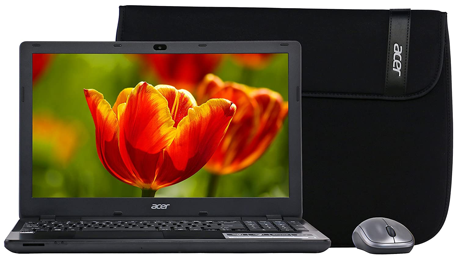 "Acer Aspire E-15 15.6"" E5-521-24PQ Laptop /AMD Quad-Core/4GB/1TB/Mouse/Case"