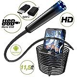 Endoscope - Borescope - Endoscope Android - USB Endoscope Borescope - Micro USB - USB C Inspection Camera - Waterproof LED Automotive Vehicle Bore Drain Digital HD Semi-Rigid OTG Android with Case (Color: Black\Gray)