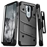 Zizo Bolt Series Compatible with LG G7 ThinQ Case Military Grade Drop Tested with Tempered Glass Screen Protector, Holster, Kickstand Metal Gray Black (Color: Gun Metal Gray/Black)