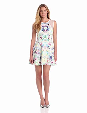 findersKEEPERS Women's Great Deception Dress, Flower Bomb Print White/White, Medium