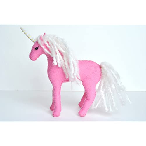 Pink Felt Stuffed Unicorn Art Toy