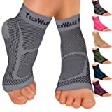 TechWare Pro Ankle Brace Compression Sleeve - Relieves Achilles Tendonitis, Joint Pain. Plantar Fasciitis Foot Sock with Arch Support Reduces Swelling & Heel Spur Pain. Injury Recovery for Sports (Color: Gray, Tamaño: L / XL (Women 7.0 - 10.5/ Men 6.0 - 9.5))
