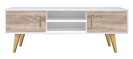 suenoszzz- 4148B/cm Tisch TV Latimer Schränkchen und Cambrian. PATA und Griffe Esche. 150 X 35 X 55 Weiß und Cambrian