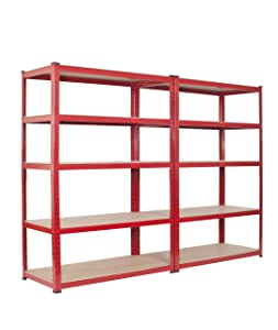 2 Bay Warehouse Racking 5 Tier Garage Shelving WIDE & DEEP TS18/12/55       Customer review and more information