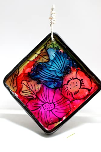Wild Flowers Hand Painted Polymer Clay Pendant