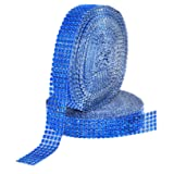 Mandala Crafts Faux Diamond Bling Wrap, Faux Rhinestone Crystal Mesh Ribbon Roll for Wedding, Party, Centerpiece, Cake, Vase Sparkling Decoration (1 Inch 5 Rows 20 Yards 2 Rolls, Blue) (Color: Blue, Tamaño: 1 Inch 5 Rows 20 Yards 2 Rolls)