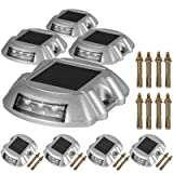 Happybuy Driveway Lights 8-Pack Solar Driveway Lights Bright White with Screw Solar Deck Lights Outdoor Waterproof Wireless Dock Lights 6 LEDs for Path Warning Garden Walkway Sidewalk Steps (Color: White, Tamaño: 8-Pack with Screw)