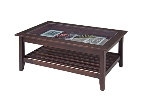 Manchester Wood Glass Top Display Coffee Table - Chestnut