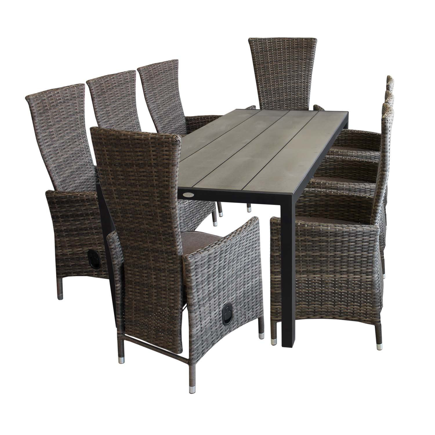 9tlg aluminium polywood gartenm bel set gartentisch 205x90cm 8x gartensessel r ckenlehne. Black Bedroom Furniture Sets. Home Design Ideas