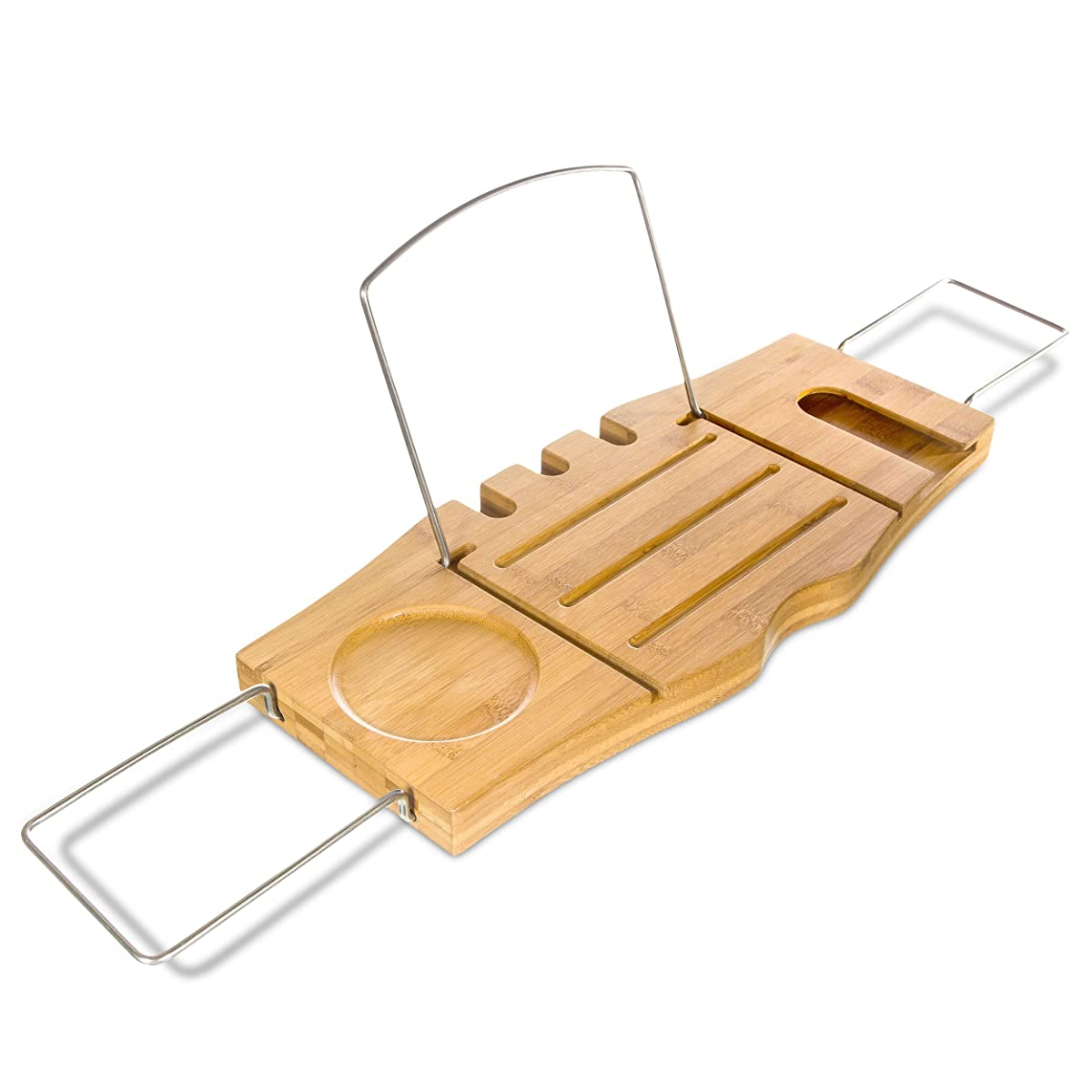 Clean Healthy Living Bamboo Bathtub Caddy Tray, with Reading Tray & Wine Glass Holder