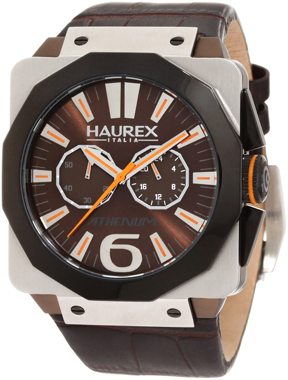 Mens haurex italy 9d372umm athenum brown aluminum quartz chronograph watch ebay for Haurex watches