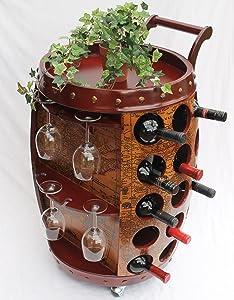 Weinregal für 30 Fl. Servierwagen 1499 Weinfass aus Holz 72cm Flaschenständer Bar  Kundenbewertung und Beschreibung