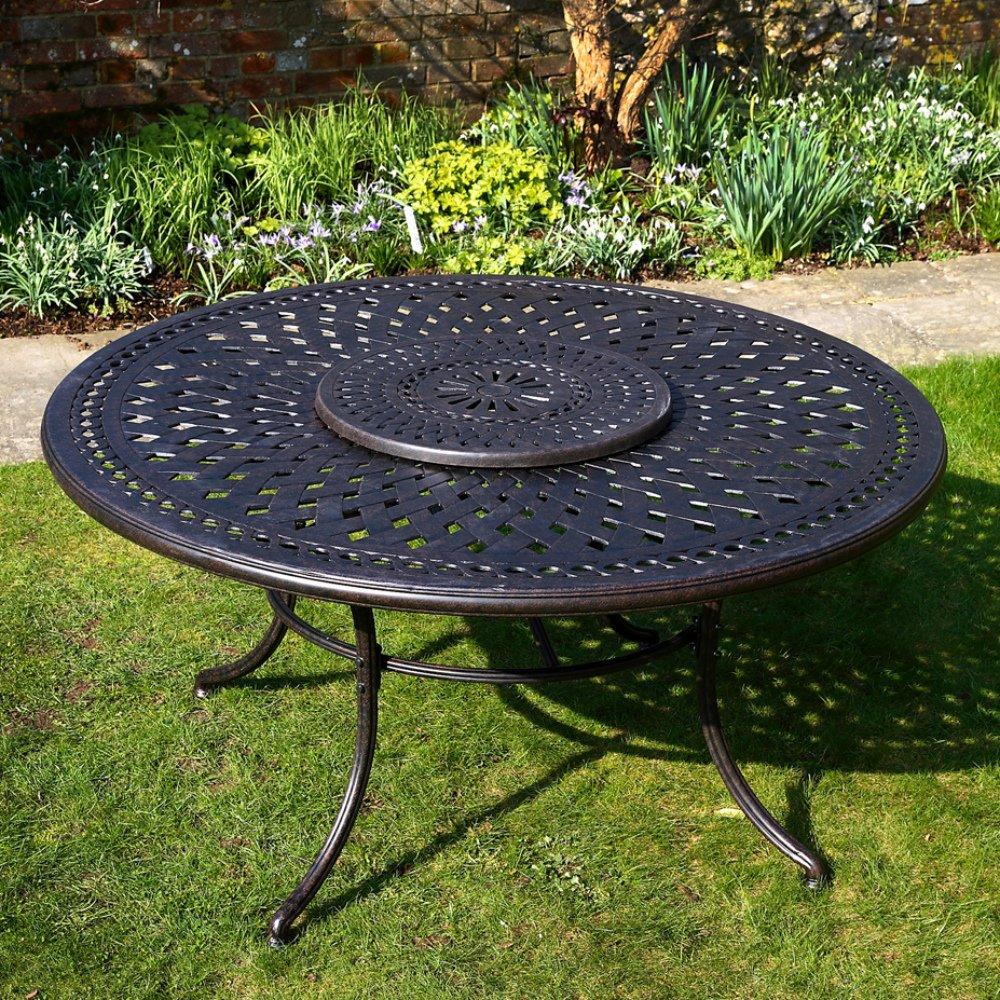 Frances 150cm Rundes Gartenmöbelset Aluminium – 1 FRANCES Tisch + 6 APRIL Stühle günstig kaufen